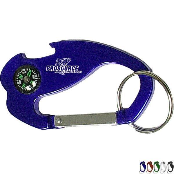 Jumbo Carabiner Key Ring w/ Compass & Bottle Opener