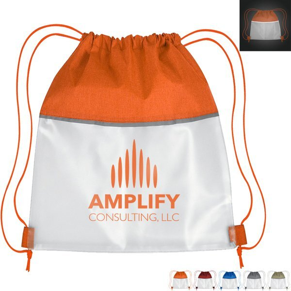 Reflective Heathered Frost Polyester Drawstring Bag