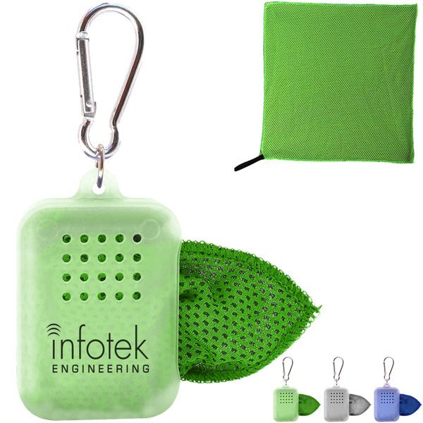 Dewy Two-Tone Cooling Towel in Carabiner Case