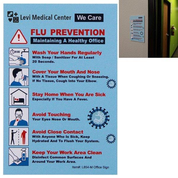 """Flu Prevention & We Care Office Sign Hard Styrene Card, 4"""" x 6"""""""