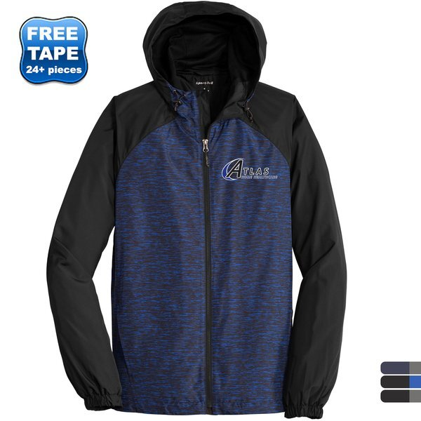 Sport-Tek® Heather Colorblock Raglan Men's Hooded Wind Jacket