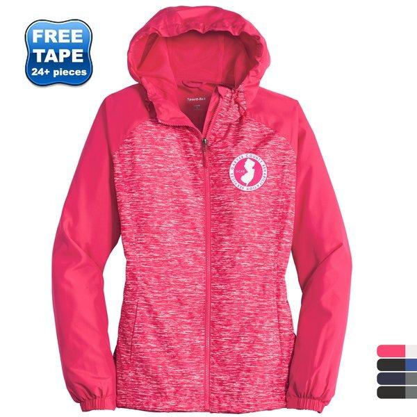 Sport-Tek® Heather Colorblock Raglan Ladies' Hooded Wind Jacket