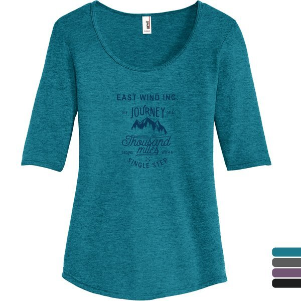 Anvil® Tri-Blend Deep Scoop Neck Ladies' 1/2 Sleeve Tee