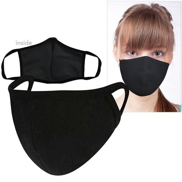 ON SALE! Reusable Washable Double Layer Cotton Poly Face Mask, Black - IN STOCK