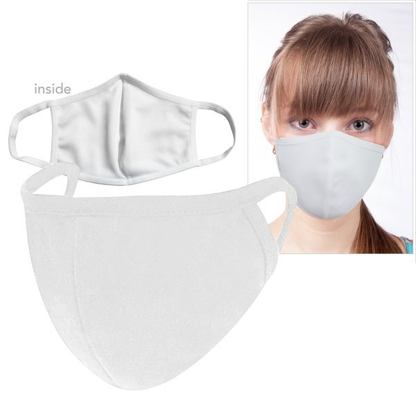 ON SALE! Reusable Washable Double Layer Cotton Poly Face Mask, White - IN STOCK