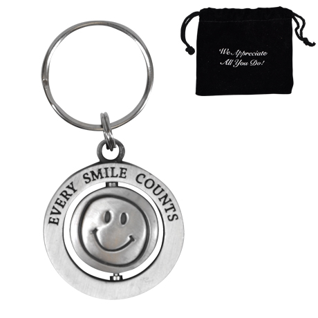 Every Smile Counts - Silver, Appreciation Swivel Keychain, Stock