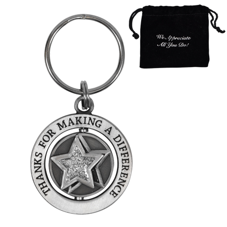 Thanks for Making a Difference, Star Appreciation Swivel Keychain, Stock