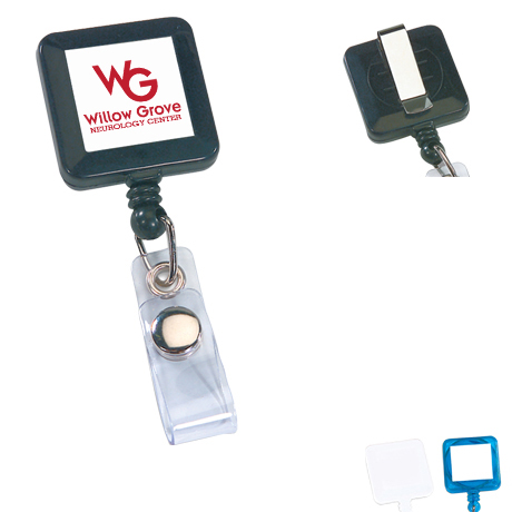 Square Retractable Badgeholder, Slide Clip