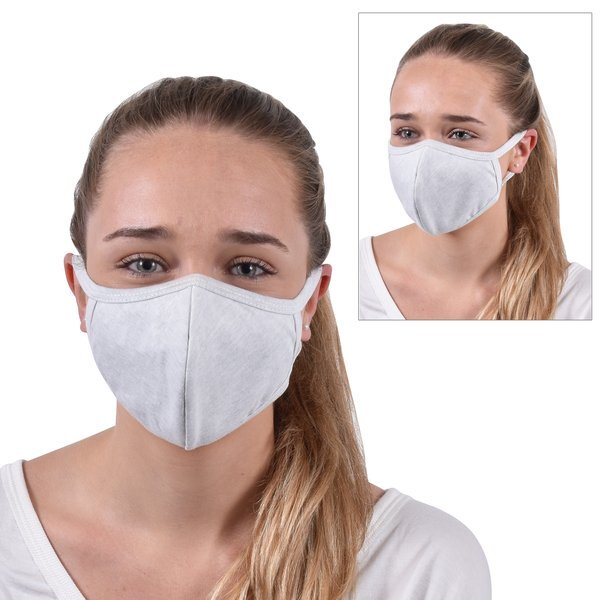 ON SALE! Reusable Washable Double Layer Cotton Poly Face Mask, Heather Gray - IN STOCK