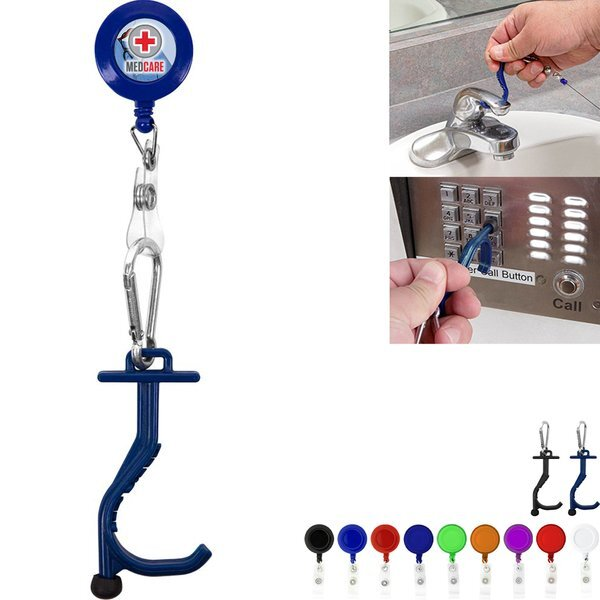 Touchless Anti-Germ Utility Key Tool w/ Retractable Badge Reel