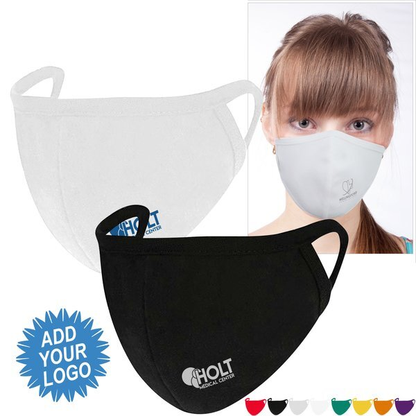 Reusable Washable Double Layer Cotton Poly Face Mask w/ Screen Imprint