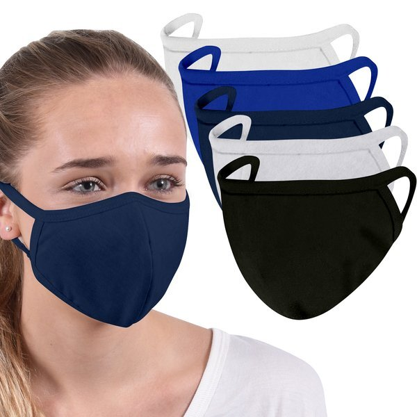 Family Pack Reusable Washable Double Layer Cotton Poly Face Mask, 5 PACK - IN STOCK