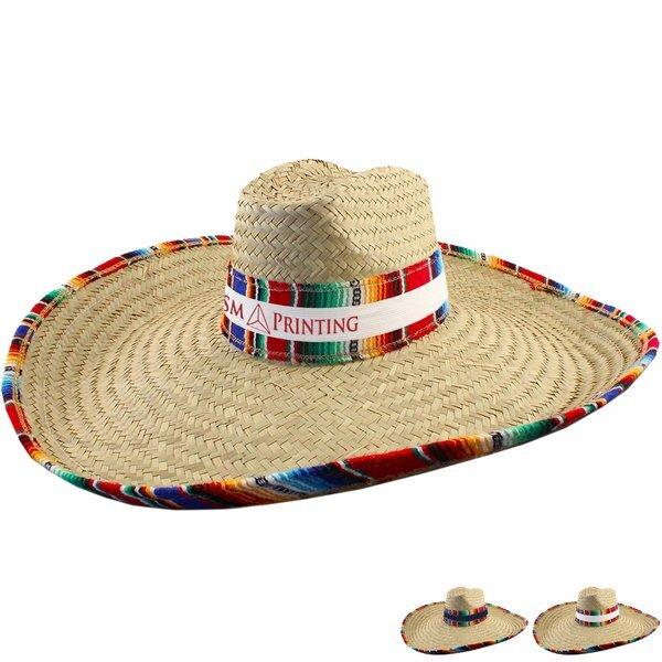 Giant Straw Sombrero w/ Serape Trim