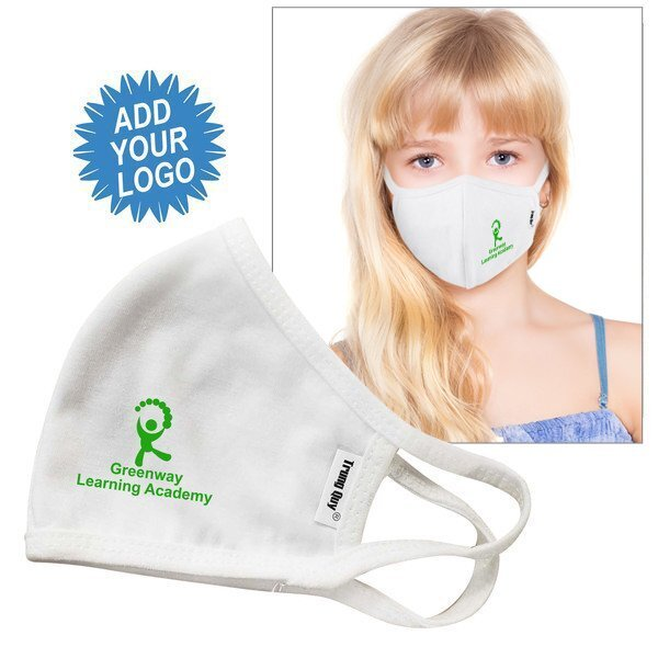 Reusable Double Layer Cotton Poly Face Mask Youth/Young Adult, White, w/ Screen Print