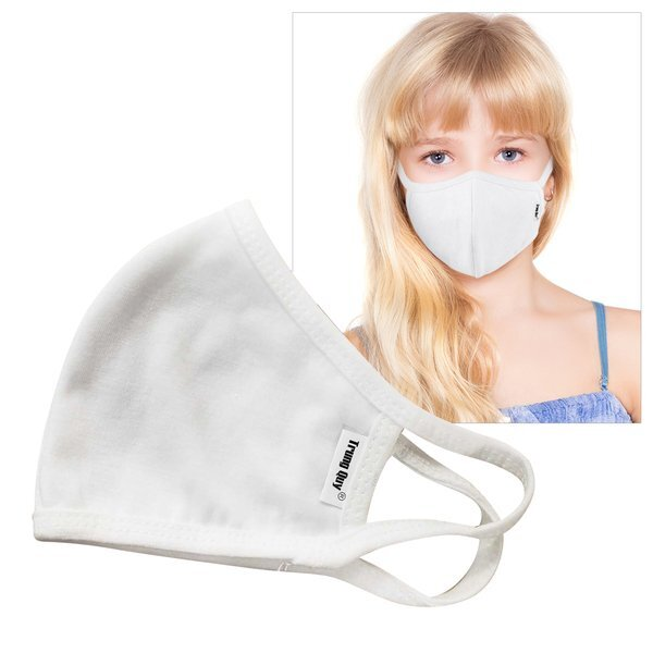 Reusable Double Layer Cotton Poly Face Mask Youth/Young Adult, White - IN STOCK & ON SALE ALL QUANTITIES .29 EA!
