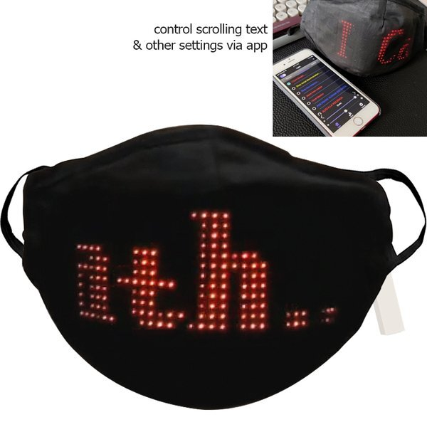 LED Programmable Message Reusable Face Mask