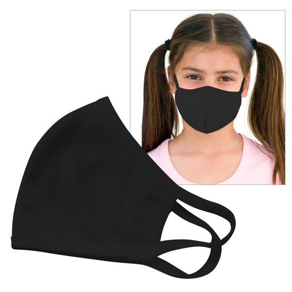Reusable Double Layer Cotton Poly Face Mask Youth Black - IN STOCK