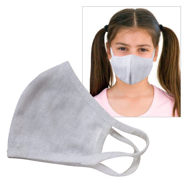 Reusable Double Layer Cotton Poly Face Mask Youth Light Gray - IN STOCK