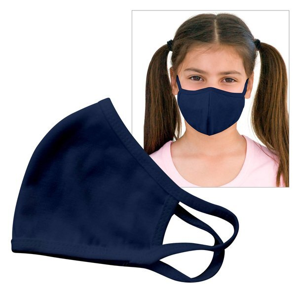 Reusable Double Layer Cotton Poly Face Mask Youth Navy - IN STOCK