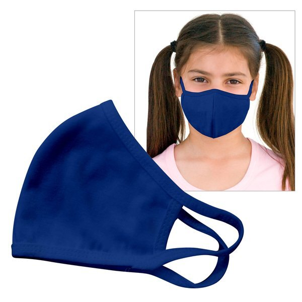 Reusable Double Layer Cotton Poly Face Mask Youth Royal - IN STOCK