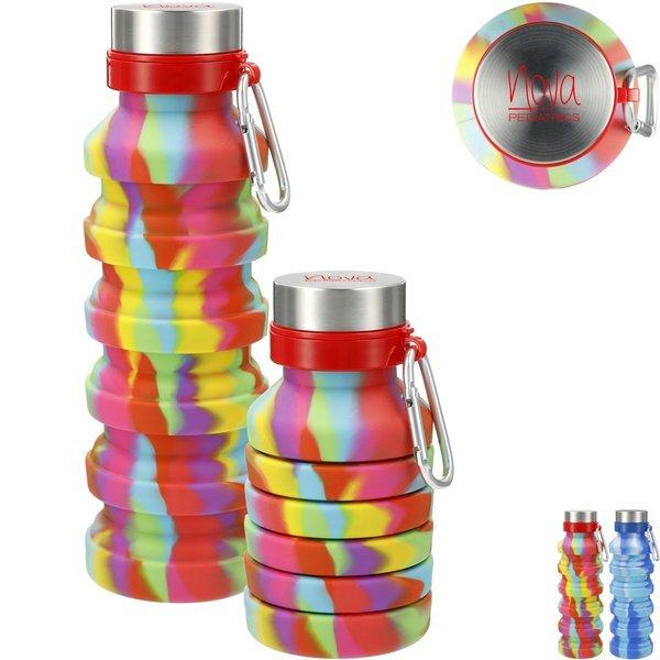 Zigoo Silicone Collapsible Tie Dye Bottle, 18oz.