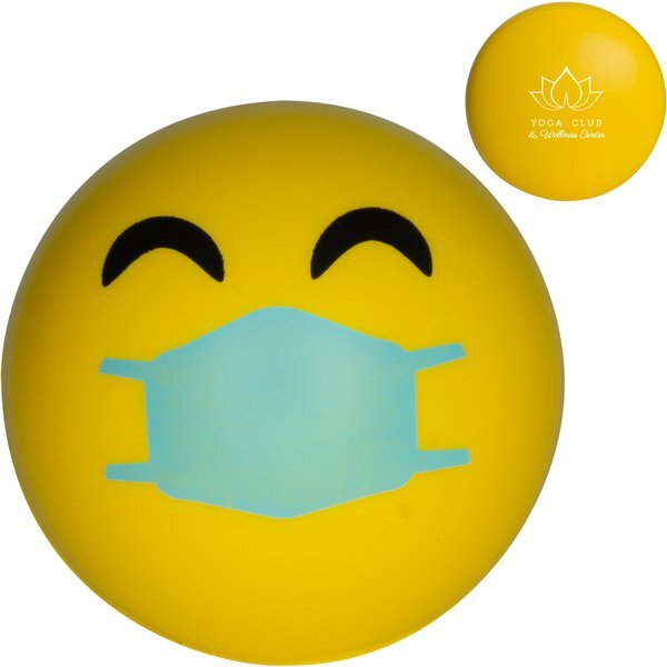 Happy Emoji PPE Mask Stress Reliever Ball