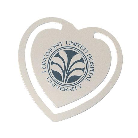 Heart Bookmark - Silvertone