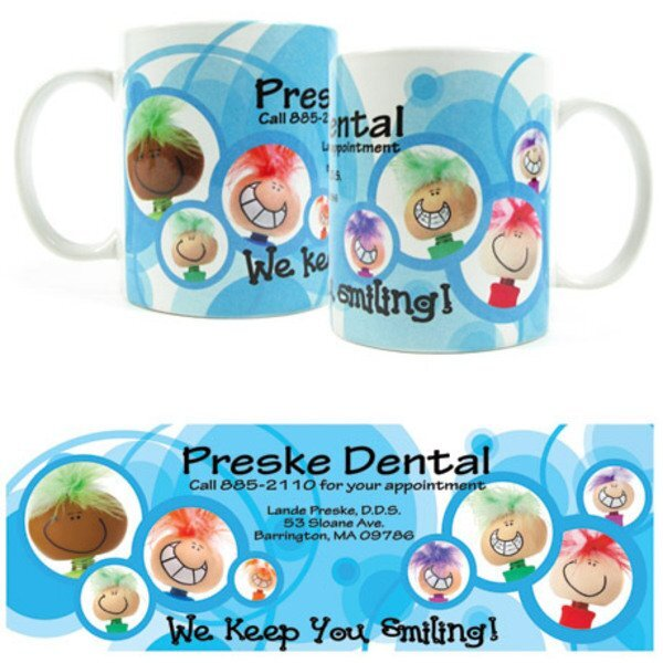 Goofy Smiling Design, Full Color Stoneware Mug, 11oz.