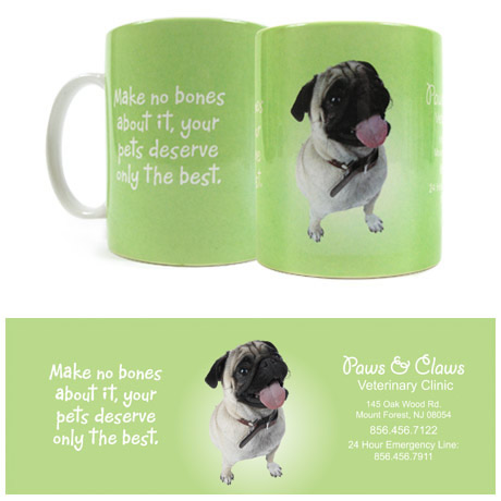 Pug Design, Full Color  Stoneware Mug, 11oz.
