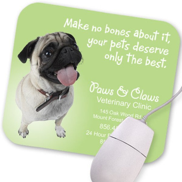 Pug Design, Full Color Mouse Pad