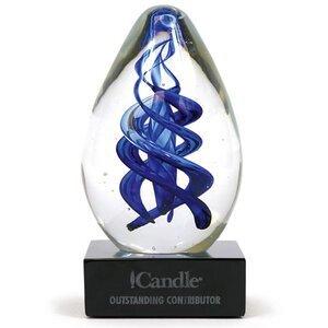 "Gemini Egg Art Glass Award with Base, 5"""
