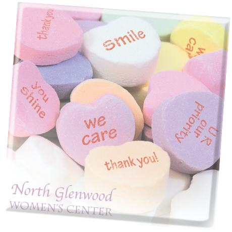 Conversation Heart Design, Full Color Ceramic Coaster