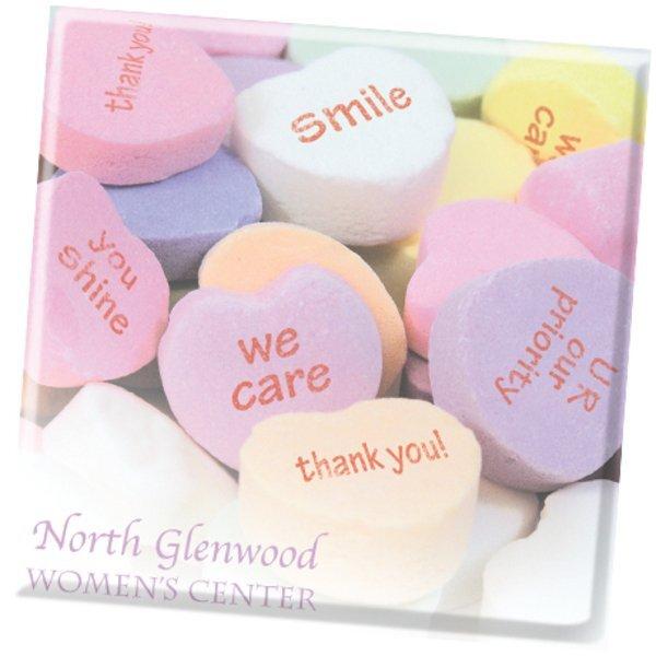 Conversation Heart Design, Full Color Ceramic Coaster