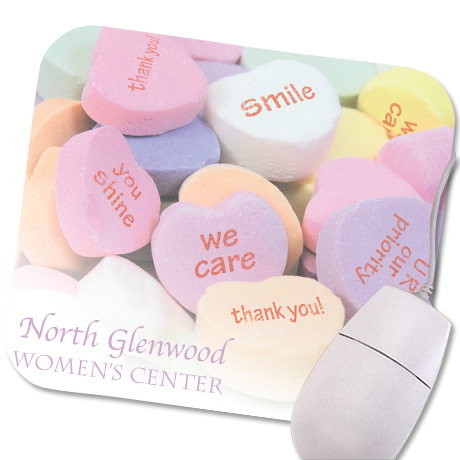 Conversation Heart Design, Full Color Mouse Pad