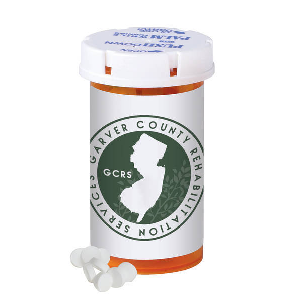 Sugar Free Peppermint Mini Mints in a Small Pill Bottle
