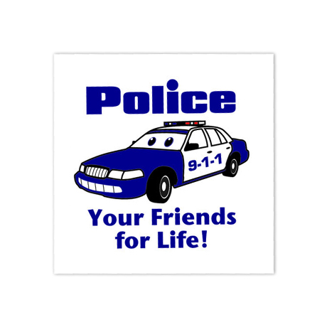 Police Your Friends For Life Temporary Tattoo, Stock