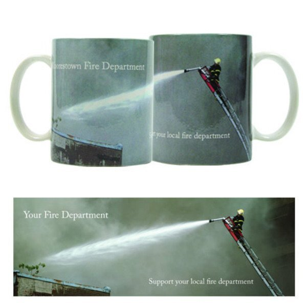 Support Your Local Fire Department Design, Full Color Stoneware Mug, 11oz.