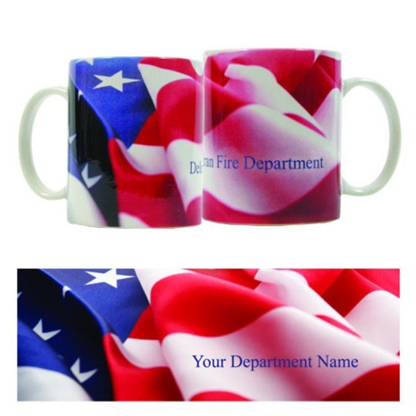 American Flag Design, Full Color Stoneware Mug, 11oz.