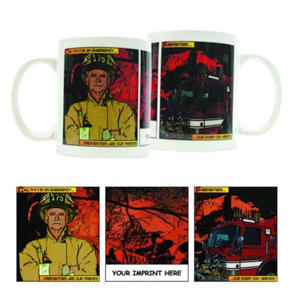 Firefighter Comic Strip Design, Full Color Stoneware Mug, 11oz.