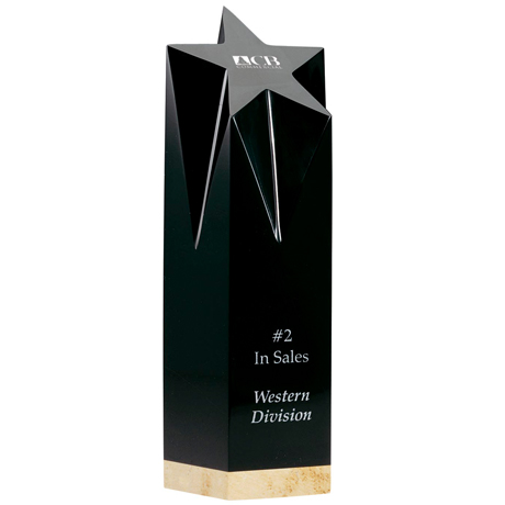 Black Crystal Shooting Star Award with Marble Base, 10""
